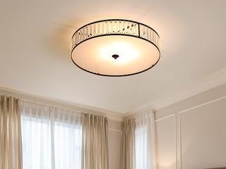 领秀照明 轻奢 铁艺+水晶罩+亚克力1650/大圆圈吸顶灯(不含光源)