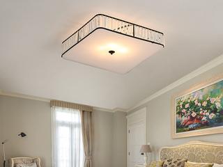 领秀照明 轻奢 铁艺+水晶罩+亚克力1650/大方形吸顶灯(不含光源)
