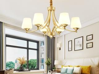 领秀照明 简美 铜本色+玻璃8802-6吊灯(不含光源)