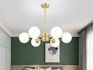 领秀照明 北欧 铜本色+玻璃8803-6吊灯(不含光源)