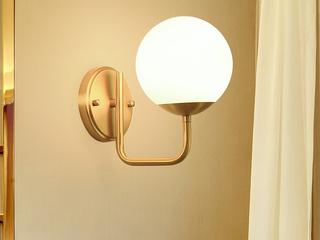 领秀照明 北欧 铜本色+玻璃8821-1B壁灯(不含光源)
