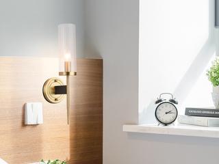 领秀照明 现代简约 铜+玻璃8884-1铜色壁灯(不含光源)