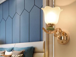 领秀照明 简欧 陶瓷+玻璃+S金2701-1W壁灯(不含光源)