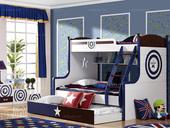 家百利 时尚童步系列1.5高低床(含书架,不带拖床)