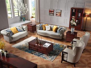 巴米尔 轻奢881沙发组合 进口头层皮皮艺1+2+3沙发
