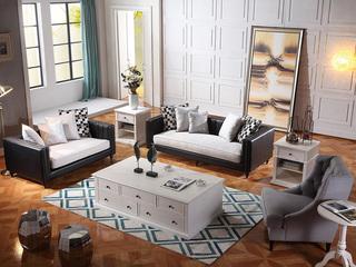巴米尔 轻奢890沙发组合皮布沙发 纳帕皮+进口棉麻布皮艺1+2+3沙发