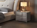 皮坊工艺 轻奢系列02米白色皮艺床头柜