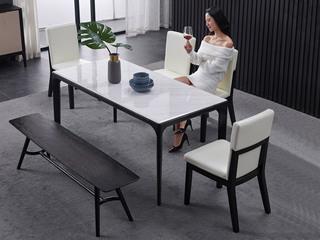 舒悦庭 极简SQ-1大理石长方形餐桌