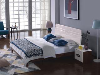 宏宇家私 唯爱系列 现代简约 双人白色床 北欧现代卧室家具 经济实惠 胡桃色床框+白色床头 实木1.8米床
