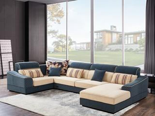 家百利 现代简约布艺植绒沙发组合 大小户型沙发组合U型整装客厅沙发 咖啡色植绒 转角沙发(1+3+左贵妃+转角)