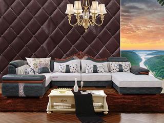 家百利 简欧风格 亲肤透气沙发 客厅沙发床 高档科技布艺 舒适柔软 转角沙发