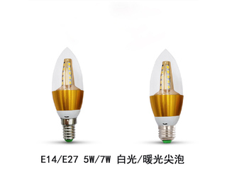 E27尖泡7W白光光源