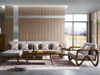 水墨年华 北欧风格 美国白蜡木 棉麻布艺 沙发组合(2+2+脚踏)