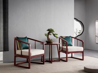 水墨年华 新中式风格 金檀木坚固框架 布艺沙发单椅