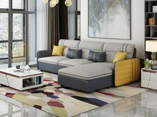 纳德威 现代简约 优质科技布 实木框架稳固 小户型首选 布艺沙发组合(3+左贵妃)