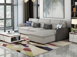 纳德威 现代简约 棉麻布料 实木框架稳固 小户型首选 布艺沙发组合(3+左贵妃)