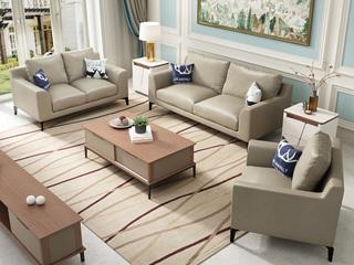纳德威 稳固耐用实木框架 优质超纤皮革 现代简约风格 杏黄色 皮艺沙发组合(1+2+3)