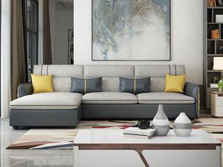 纳德威 现代简约 优质科技布 实木框架稳固 小户型首选 布艺沙发组合(3+右贵妃)