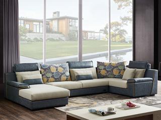 家百利 现在简约风格 全实木框架 舒适透气型布艺 布艺沙发大小户型组合 转角沙发整套(1+3+左贵妃+转角)
