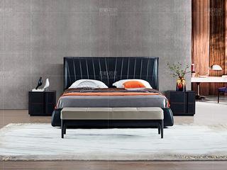 拉帕拉尼 极简系列 接触面进口头层真皮+进口北美白蜡木黑色+灰色床尾凳