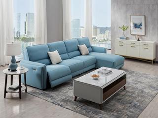 芝华仕 头等舱北欧风格现代简约科技布艺功能沙发客厅大户型10089 蓝色左贵妃沙发组合