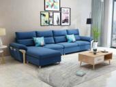 纾康 现代X1688B布艺沙发组合 深蓝色