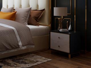 慕梵希 轻奢 黑白不锈钢镀金  C02床头柜