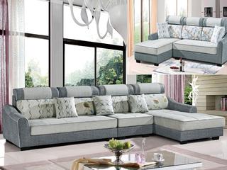 怡都 现代简约 灰色+米色进口樟子防虫松木(框架) 亲肤棉麻质地面料沙发组合(1+3+左贵妃)