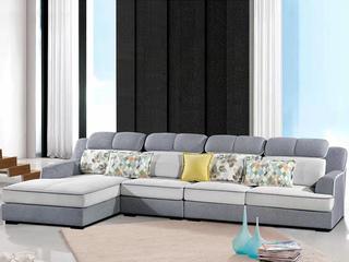 怡都 现代简约 灰色+米色进口樟子防虫松木(框架) 亲肤棉麻质地面料沙发组合(1+3+妃)