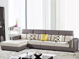 怡都 现代简约 古典灰色进口樟子防虫松木(框架) 亲肤棉麻质地面料沙发组合(1+3+妃)