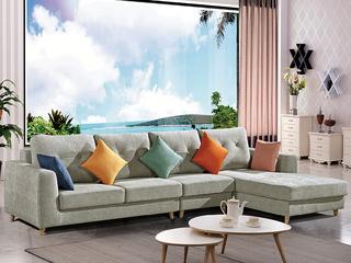 怡都 现代简约 灰色+米色进口樟子防虫松木(框架) 休闲布艺质地面料沙发组合(1+3+妃)