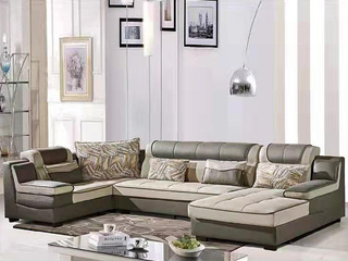 怡都 现代简约 咖啡色进口樟子防虫松木(框架) 休闲布艺质地面料沙发组合(1+3+妃+转角)