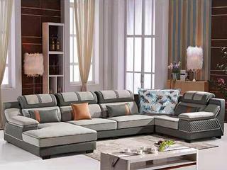 怡都 现代简约 浅咖啡色进口樟子防虫松木(框架) 休闲布艺质地面料沙发组合(1+3+妃+转角)