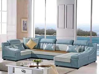 怡都 现代简约 宝石蓝色进口樟子防虫松木(框架) 亲肤棉麻质地面料沙发组合(1+3+妃+转角)
