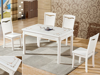 怡都 现代简约 黑色火烧石 烤漆实木1餐桌+4椅
