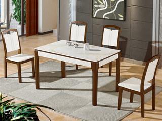 怡都 现代简约 暖白钢化玻璃 烤漆实木1餐桌+4椅