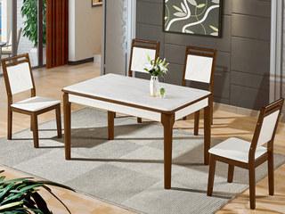 怡都 现代简约 米色大理石 烤漆实木1餐桌+4椅