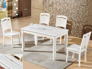 怡都 现代简约 米白大理石 烤漆实木1餐桌+4椅