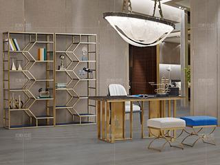 拉帕拉尼 时尚轻奢 不锈钢五金 PVC软包层板拉丝钛金 单个书柜