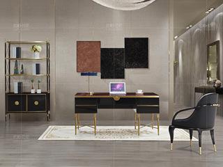 拉帕拉尼 时尚轻奢 实木 超纤黑色 米白书椅