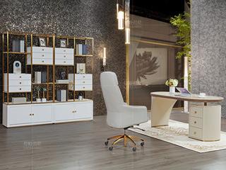 拉帕拉尼 时尚轻奢 不锈钢 超纤浅灰色书椅