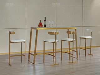 拉帕拉尼 时尚轻奢 拉丝不锈钢 阿曼玫瑰天然大理石金色吧台