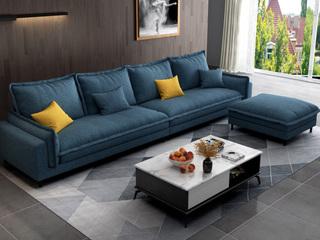 纾康 现代简约 透气棉麻布艺 俄罗斯进口落叶松坚固实木框架 蓝色 沙发组合(2+2+脚踏)