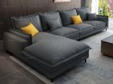 纾康 现代简约 透气棉麻布艺 俄罗斯进口落叶松坚固实木框架 灰色 沙发组合(1+2+右贵妃)