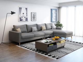 纾康 北欧 透气棉麻布艺 俄罗斯进口落叶松坚固实木框架 浅灰色 沙发组合(1+2+左贵妃)
