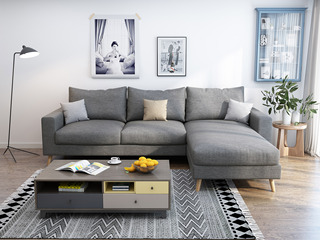 纾康 北欧 透气棉麻布艺 俄罗斯进口落叶松坚固实木框架 浅灰色 沙发组合(2+左贵妃)