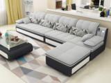 欧度 现代简约 透气棉麻布艺 俄罗斯进口落叶松坚固实木框架 经典灰 沙发组合(2+2+脚踏)