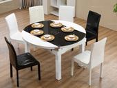 米勒 现代简约  钢化玻璃 带电磁炉餐桌