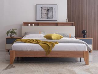 喔木居 现代极简卡姆系列 经典原木色1.5*2.0米实木床(高箱款)