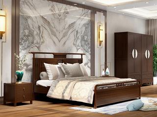 檀宫御品 新中式 优质进口黄金檀木 1.5米 FA1901 床